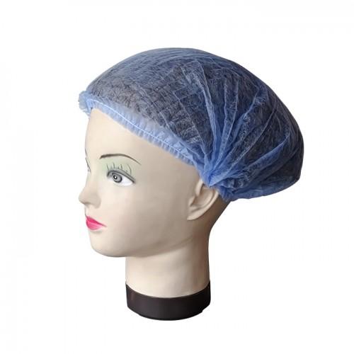 Синьо боне от нетъкан текстил – универсален размер, 100 бр.