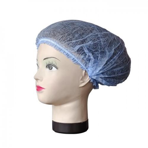 Синьо боне от нетъкан текстил – 52 см, 100 бр.