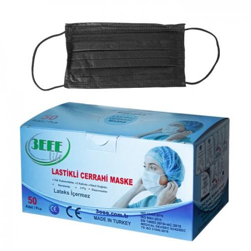 Предпазни маски за еднократна употреба 3EEE, 50 броя - черни