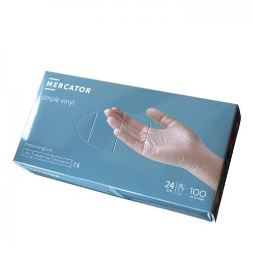 Еднократни винилови ръкавици, Безцветни - 100 бр.