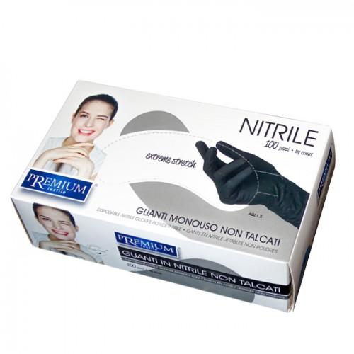 Еднократни черни ръкавици от нитрил Premium, опаковка от 100 броя